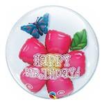 Bubble Duplo 24 Polegadas - Flor de Aniversário - Qualatex