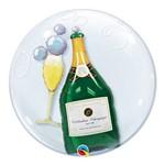 Bubble Duplo 24 Polegadas - Garrafa de Champanhe e Copo - Qualatex