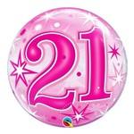 Bubble 22 Polegadas - 21 Anos Explosão de Estrelas e Brilho Rosa - Qualatex