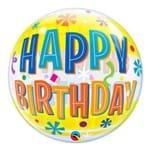 Bubble 22 Polegadas - Aniversário Divertido com Faixas Amarelas - Qualatex