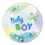 Bubble 22 Polegadas - Bebê Menino com Aviões - Qualatex