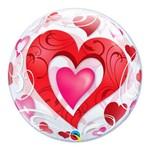 Bubble 22 Polegadas - Corações Vermelhos e Filigrana - Qualatex