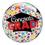 Bubble 22 Polegadas - Parabéns Graduado, Capelos e Triangulos - Qualatex