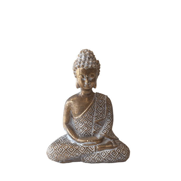 Buda Porcelana Dourado M M ( 13 Cm X 10 Cm)