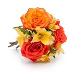 Buquê Cute com Flores Laranjas e Amarelas PP