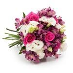 Buquê Luxo com Flores Brancas, Rosas e Roxas G