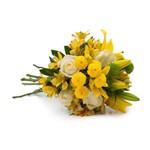 Buquê Obrigado com Flores Amarelas e Brancas M