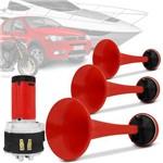 Buzina Automotiva Eletropneumática com 3 Cornetas Vermelhas 2 Tons