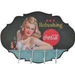 Cabideiro de Parede Coca-Cola MDF Blond Lady With Colorido - Urban