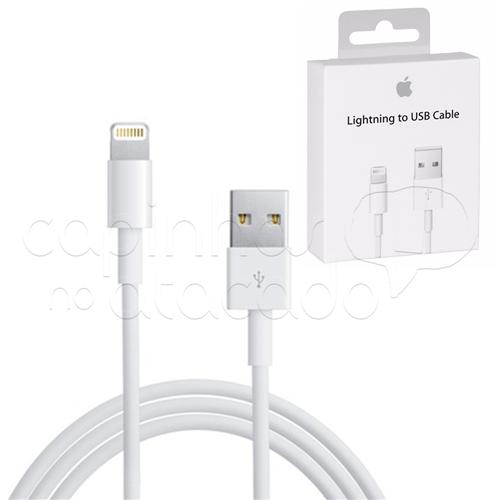 Cabo Carregador USB para Apple IPhone 5 e 6 - LIGHTNING 1ª Linha IPhone 5 / 6 / 7 / 8 e X - 1 Metro