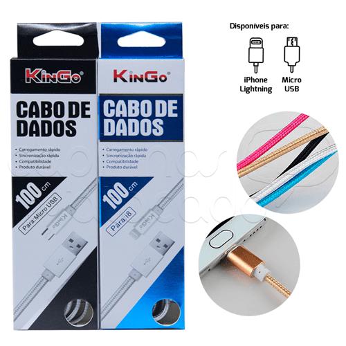 Cabo de Dados Corda Linha Premium - Kingo - Cores Sortidas Micro USB / V8