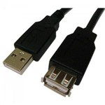 Cabo USB 2.0 a Macho a Fêmea Preto Plus Cable Storm