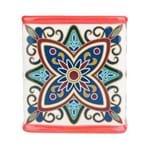 Cachepô Cerâmica Quadrado Floral Vintage Vermelho