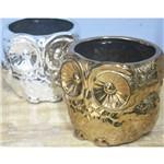 Cachepô Coruja em Cerâmica - 12x12,5 Cm - Little Owl - Cor Prata