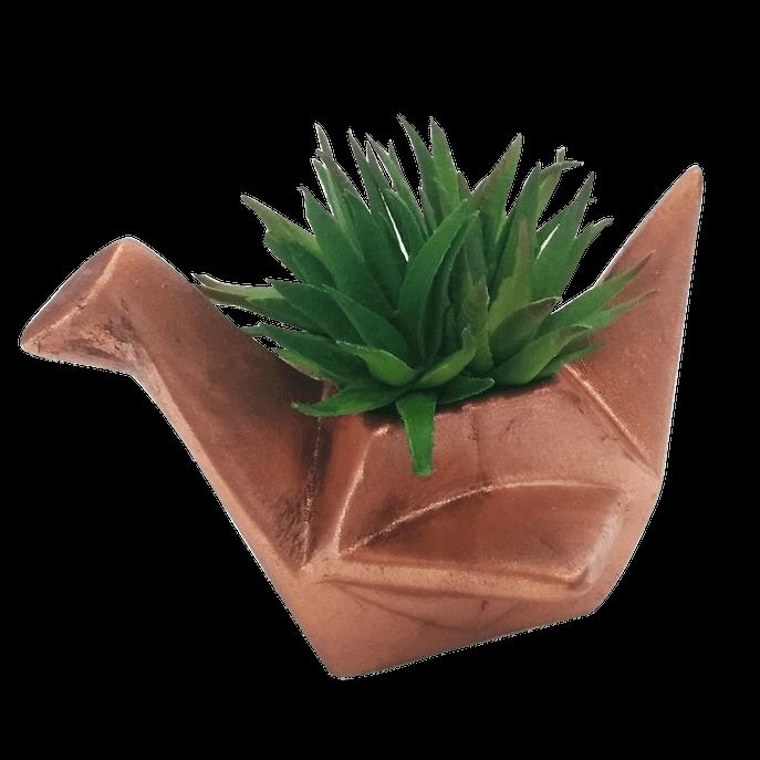 Cachepot Passarinho em Origami Cobre G