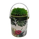 Cachepot, Vaso Decorativo 19cm de Cerâmica CAN Green Leaves Verde Urban - H40394
