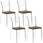 Cadeira 1700 4 Peças - Cromado com Napa Cacau
