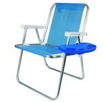 Cadeira de Praia Alta Alumínio Sannet Cores com Mesa Mor