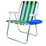 Cadeira de Praia Mor Alta Dobravel em Alumínio com Mesa