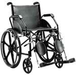 Cadeira de Rodas em Aço - Ortopedia Jaguaribe - 1016 - Preta - Pneu Maciço