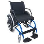 Cadeira de Rodas K1 Eco Alumínio Pedal Fixo 42cm Azul Ortobras (cód. 18755)