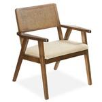 Cadeira Decorativa Jasmim 01 Lugar C/ Ratam no Encosto, Revestimento - Richmond Bahia, Padrao - Imbuia Mel