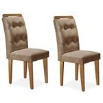 Cadeira Demi Sala de Jantar - Kit 02 Unidades, Padrao - Imbuia, Revestimento - Animali Chocolate