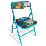 Cadeira Dobrável Infantil Aço Azul - Antares