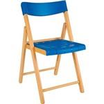 Cadeira Dobrável Natural com Azul Potenza