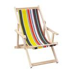 Cadeira Espreguiçadeira Dobrável Madeira Listras Verde, Amarelo, Bege e Laranja