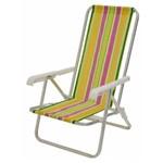 2 Cadeira Praia Reclinável Alumínio Diversas Cores Mor