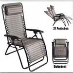 Cadeira Reclinável Trançada Preta Mor