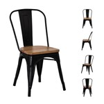 Cadeira Tolix Iron Assento Madeira Preto Fosco - (preta Fosco)