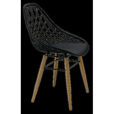 Cadeira Tramontina Philo Preta em Poliamida com Pernas de Madeira 92088009