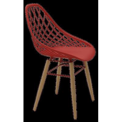 Cadeira Tramontina Philo Vermelha em Poliamida com Pernas de Madeira 92088040