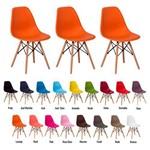 3 Cadeiras Eiffel Eames Dsw Base Madeira Várias Cores - (laranja)