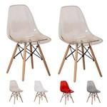 2 Cadeiras Eiffel Eames Transparente Várias Cores - (ambar)