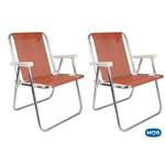 2 Cadeiras Sannet Alumínio Alta Coral Mor