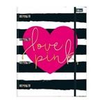 Caderno Argolado Tilibra com Elástico Love Pink 80 Folhas