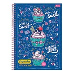Caderno Cupcake - Azul - 10 Matérias - Foroni