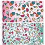 Caderno Espiral Capa Dura Cartografia e Desenho 96 Folhas It Girl Jandaia