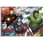 Caderno Espiral Capa Dura Cartografia e Desenho Avengers Assemble - 96 Folhas Mod 02