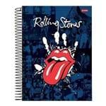 Caderno Espiral Capa Dura Universitário 10 Materias 200 Folhas Rolling Stones Azul Jandaia