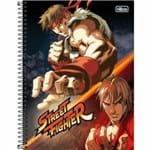 Caderno Espiral Capa Dura Universitário 10 Matérias Street Fighter 160 Folhas Tilibra