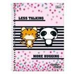 Caderno Lovely Friend - Tigre e Panda - 1 Matéria - Tilibra