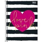 Caderno Universitário Love Pink Coração 10 Matérias Tilibra