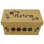 Caixa Batom Flores com 18 Divisões Tampa de Sapato - Madeira MDF