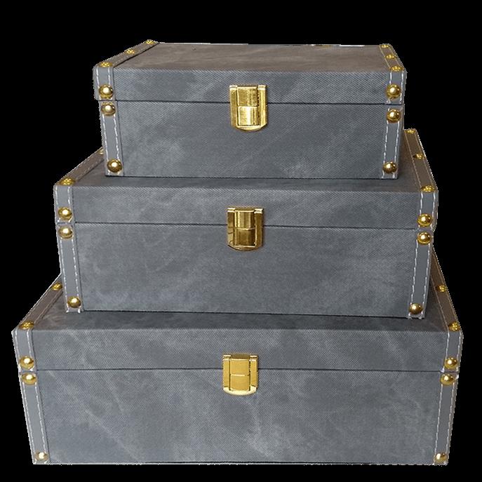Caixa Baú Cinza Decorativa P