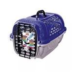 Caixa de Transporte Caes e Gatos Panther Nº 01 Azul com Bebedouro