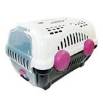 Caixa de Transporte para Cachorro - Furacão Pet - Luxo - Tamanho 1 - Branca com Rosa